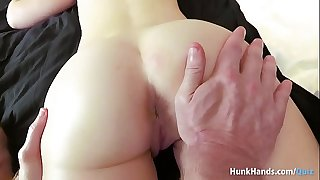 Bubble pouch British stunner squirts ALL over the hotel sofa in real massage! Unexperienced POV!