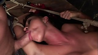 Under total domination. Humiliated bitch mouth fucked and fucked painfully in her all holes.