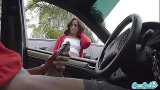 Dick Flash! Cute Teen Gives Me Hand Job in Public Parking Lot after She Sees My Big Black Cock