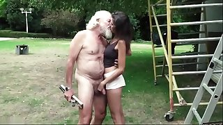 Old man plays a sex game with young girl they have super stunning sex